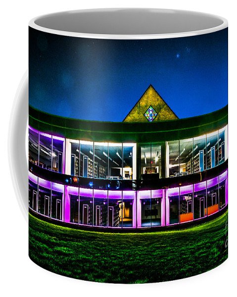 Defiance Coffee Mug featuring the photograph Defiance College Library Night View by Michael Arend