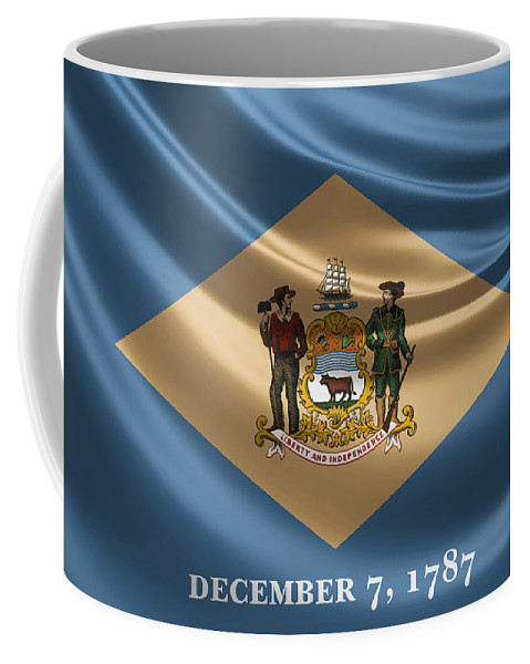 'state Heraldry' Collection By Serge Averbukh Coffee Mug featuring the digital art Delaware State Flag by Serge Averbukh