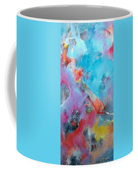 Abstract Art Coffee Mug featuring the painting Deliberate.. by Mira Satryan