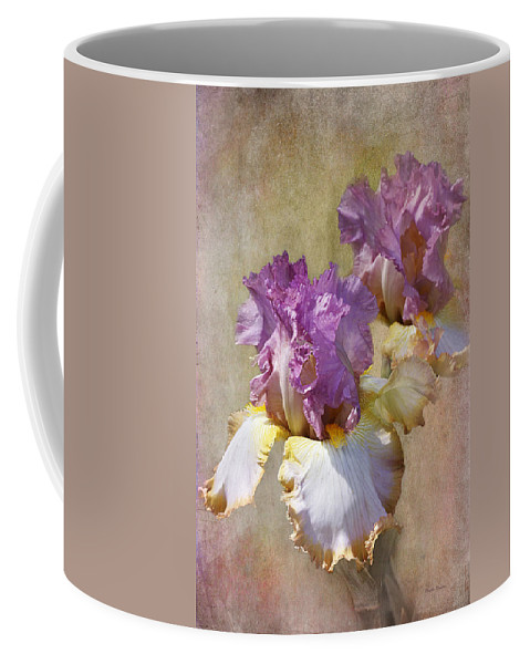 Flower Coffee Mug featuring the photograph Delicate Gold And Lavender Iris by Phyllis Denton