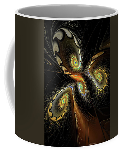 Fractal Coffee Mug featuring the digital art Delicate Spirals Of Lace by Deborah Benoit