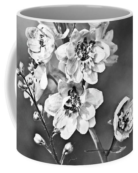 Delphinium Coffee Mug featuring the photograph Delphinium Black And White by Marcia Colelli