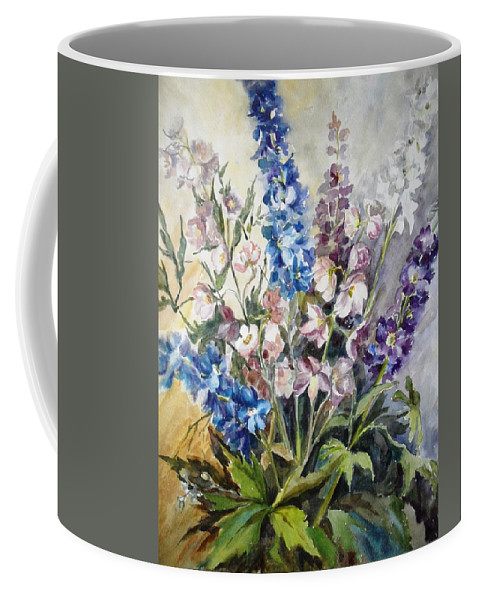 Delphinium Coffee Mug featuring the painting Delphiniums by Natalya Slepneva