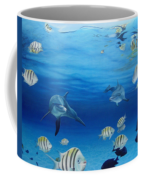 Seascape Coffee Mug featuring the painting Delphinus by Angel Ortiz