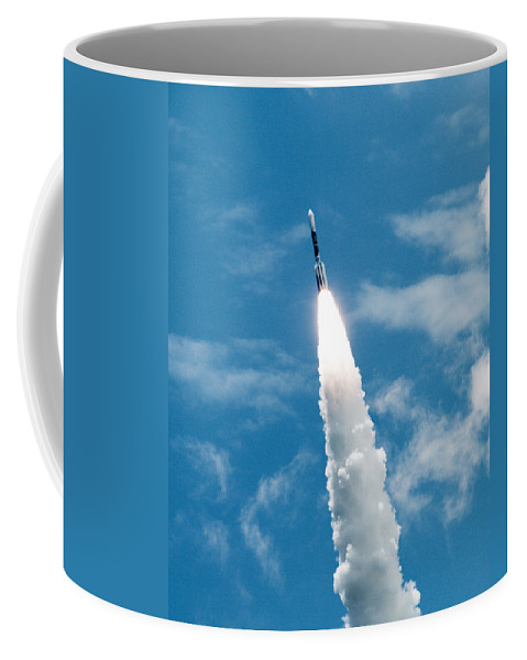 Cape; Canaveral; Nasa; Rocket; Florida; Delta; Launch; Launched; Launching; Space; Coast; Kennedy; S Coffee Mug featuring the photograph Delta Rocket From Cape Canaveral In Florida by Allan Hughes