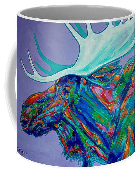 #moose Coffee Mug featuring the painting Denali Moose Head by Derrick Higgins