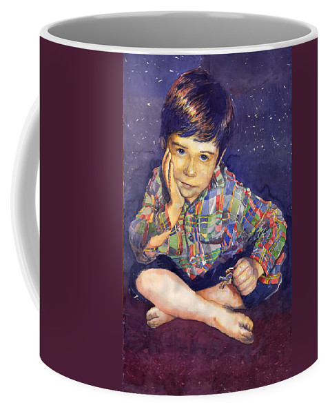 Watercolor Watercolour Portret Figurativ Realism People Commissioned Coffee Mug featuring the painting Denis 01 by Yuriy Shevchuk