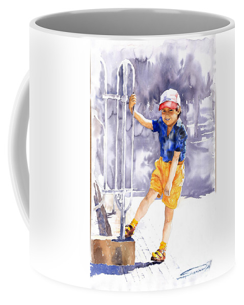 Watercolor Watercolour Figurativ Portret Coffee Mug featuring the painting Denis 02 by Yuriy Shevchuk