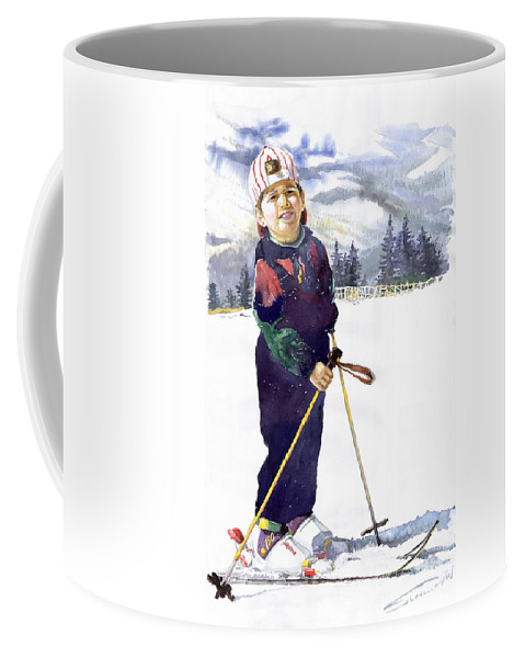 Watercolor Watercolour Figurative Ski Children Portret Realism Coffee Mug featuring the painting Denis 03 by Yuriy Shevchuk