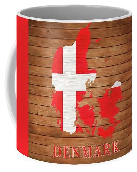Denmark Rustic Map On Wood Coffee Mug featuring the mixed media Denmark Rustic Map On Wood by Dan Sproul