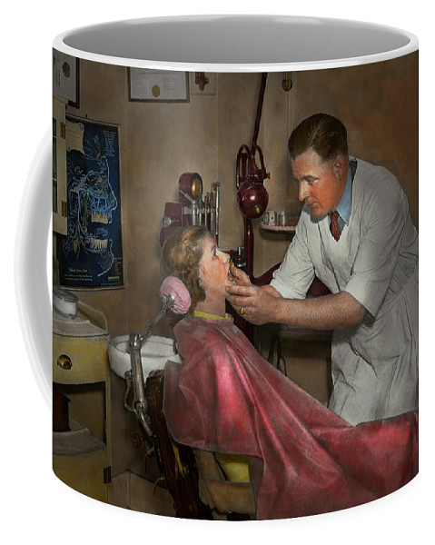 1930 Coffee Mug featuring the photograph Dentist - Making An Impression - 1936 by Mike Savad