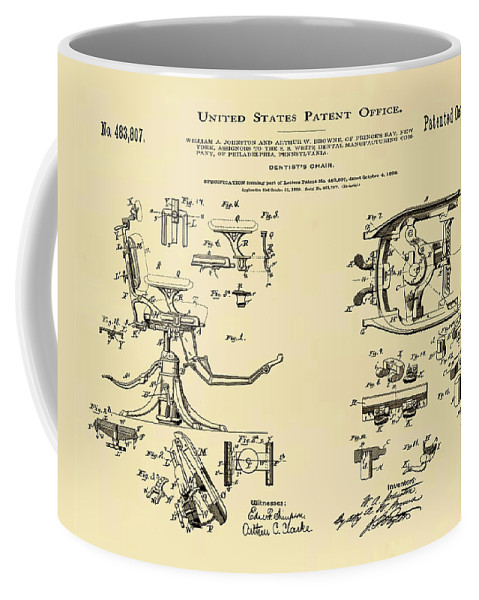 Dentists Coffee Mug featuring the digital art Dentists Chair Patent 1892 In Sepia by Bill Cannon