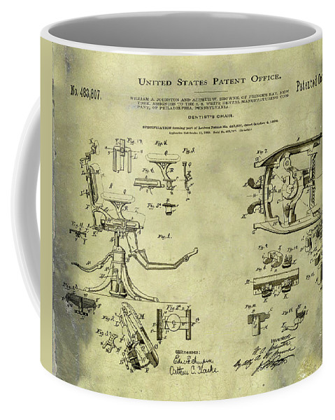 Dentists Coffee Mug featuring the digital art Dentists Chair Patent 1892 In Vintage by Bill Cannon