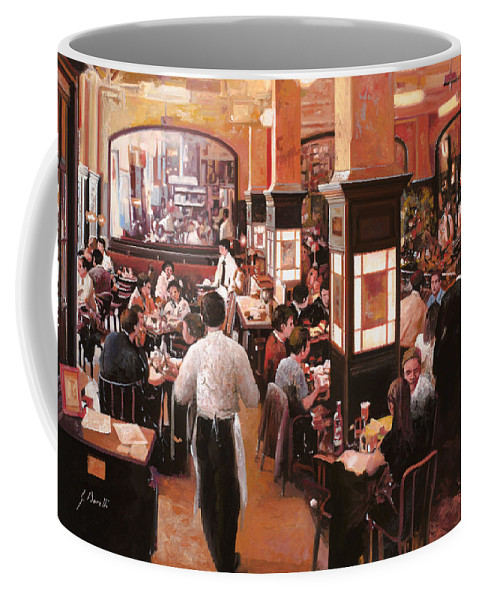 Coffee Shop Coffee Mug featuring the painting Dentro Il Caffe by Guido Borelli