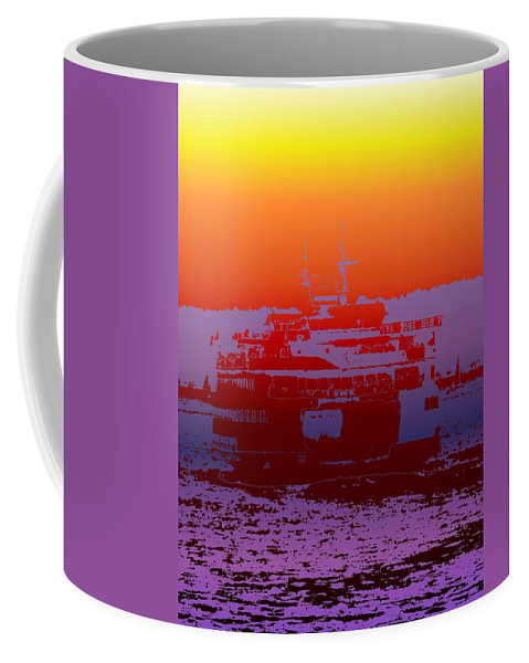 Seattle Coffee Mug featuring the photograph Departing Ferry 2 by Tim Allen