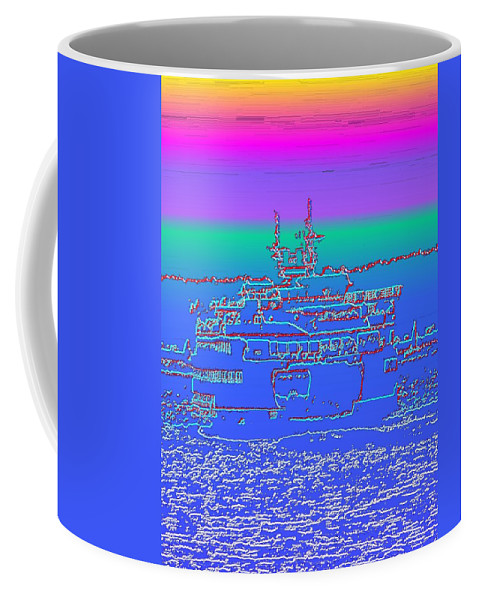 Digital Photo Manipulation Coffee Mug featuring the photograph Departing Ferry by Tim Allen