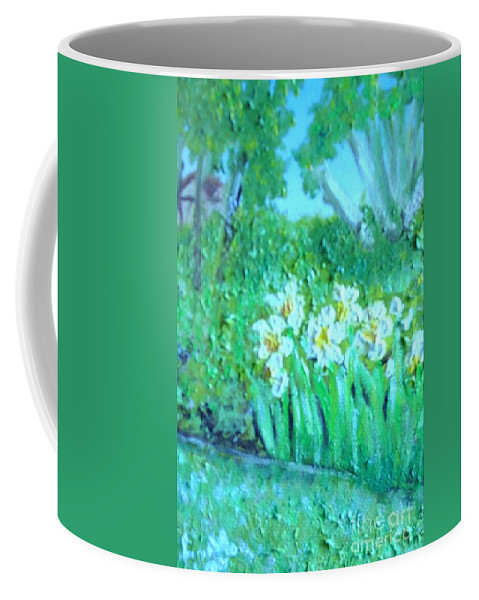 Daffodils Coffee Mug featuring the painting Dependable Daffodils by Laurie Morgan
