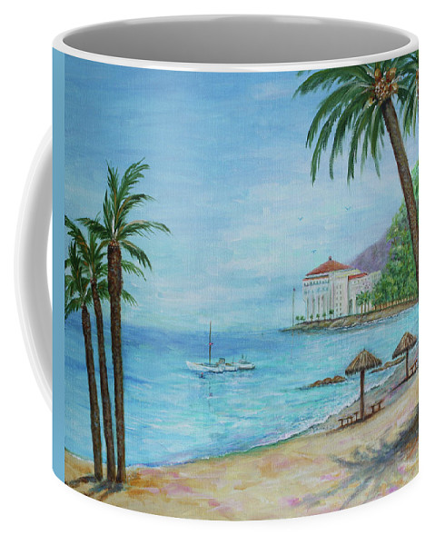 Landscape Coffee Mug featuring the painting Descanso Beach, Catalina by Lynn Buettner
