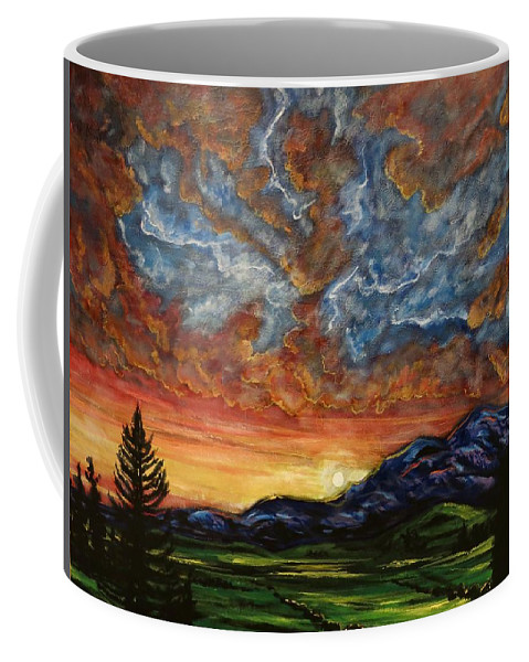 Landscape Coffee Mug featuring the painting Descent On Mount Diablo by Joel Tesch