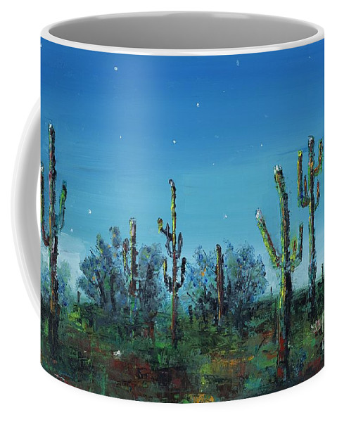 Desert Saguaro Catus In Bloom Coffee Mug featuring the painting Desert Blue by Frances Marino