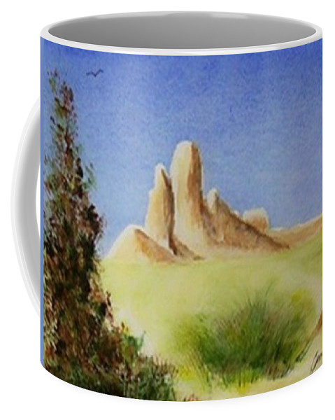 Butte Coffee Mug featuring the painting Desert Butte by Jamie Frier