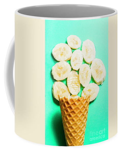 Banana Coffee Mug featuring the photograph Dessert Concept Of Ice-cream Cone And Banana Slices by Jorgo Photography - Wall Art Gallery