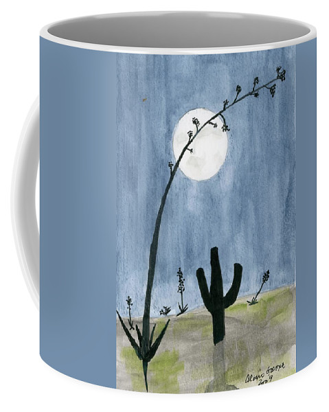 Cactus Coffee Mug featuring the painting Desert Moon by Alexis Grone