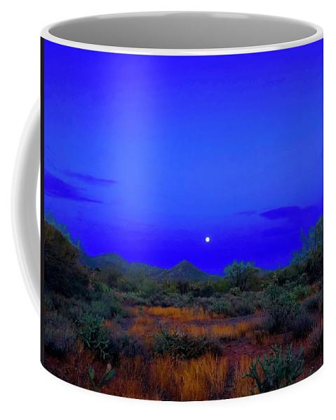 Coffee Mug featuring the photograph Desert Moon Scape by Joy Elizabeth