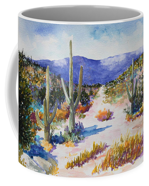 Landscape Desert Coffee Mug featuring the painting Desert Scene 2 by M Diane Bonaparte