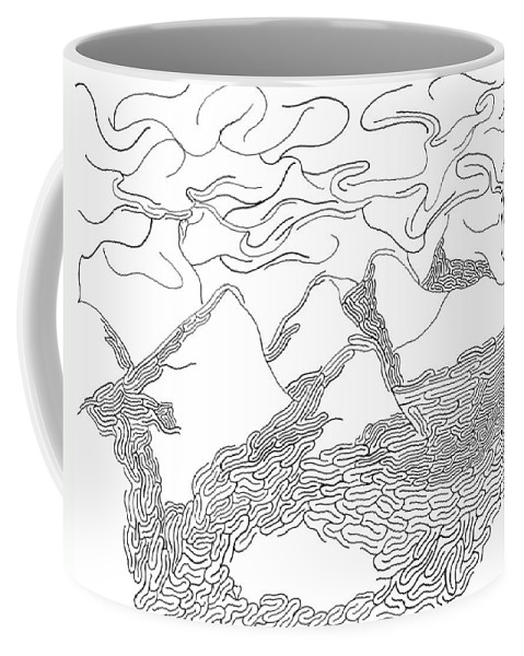 Mazes Coffee Mug featuring the drawing Desert Storm by Steven Natanson