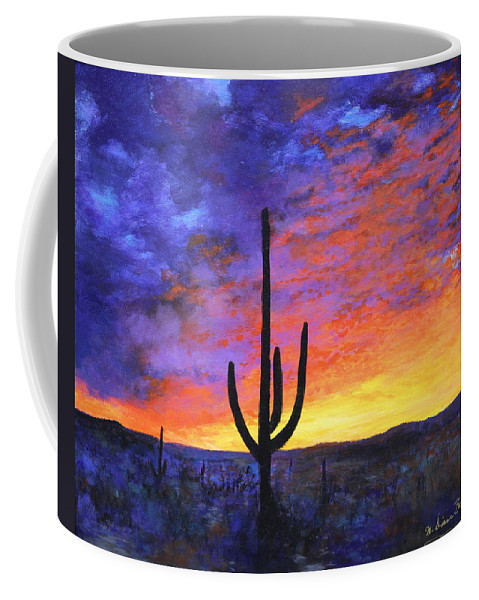 Desert Coffee Mug featuring the painting Desert Sunset 4 by M Diane Bonaparte