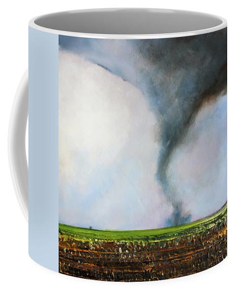 Tornado Coffee Mug featuring the painting Desolate Tornado by Toni Grote