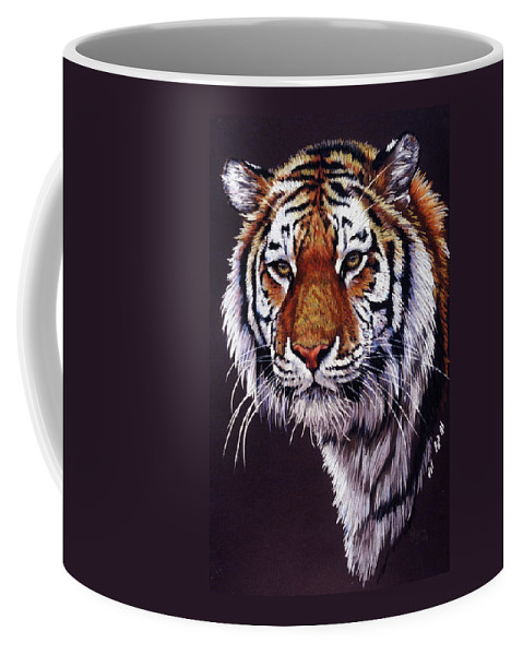 Tiger Coffee Mug featuring the drawing Desperado by Barbara Keith
