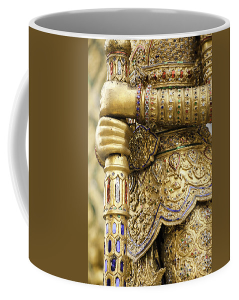 Artifact Coffee Mug featuring the photograph Detail From A Buddhist Temple In Bangkok Thailand by Anthony Totah