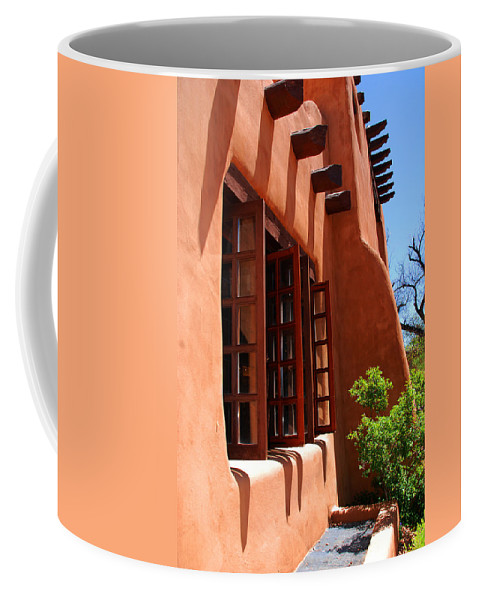 Santa Fe Coffee Mug featuring the photograph Detail Of A Pueblo Style Architecture In Santa Fe by Susanne Van Hulst