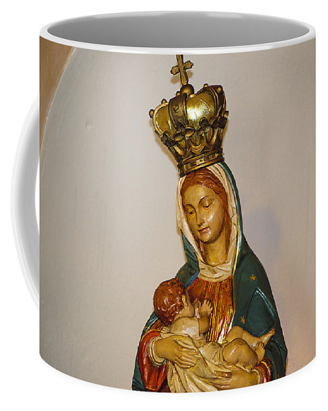 Mary Coffee Mug featuring the photograph Detail Of Oldest Mission Chapel by Kenneth Albin