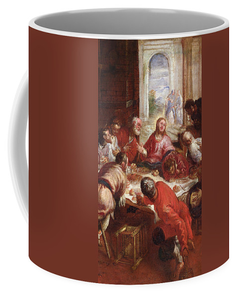 The Last Supper Coffee Mug featuring the painting Detail Of The Last Supper by Jacopo Robusti Tintoretto
