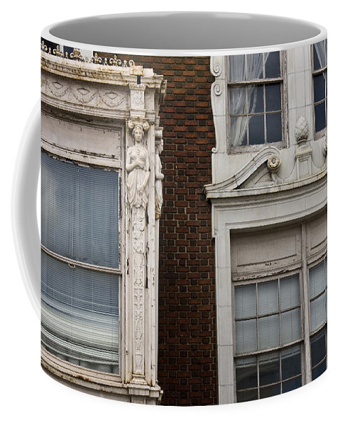 Roanoke Coffee Mug featuring the photograph Details Of The Patrick Henry Hotel Roanoke Virginia by Teresa Mucha