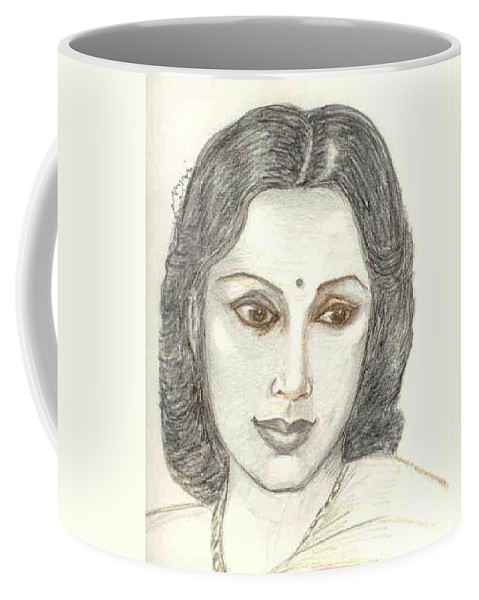 Coffee Mug featuring the drawing Devika Rani - Svetoslav Roerich by Asha Sudhaker Shenoy