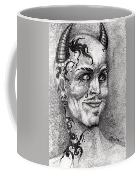 Satan Coffee Mug featuring the drawing Devil May Cry by Alban Dizdari