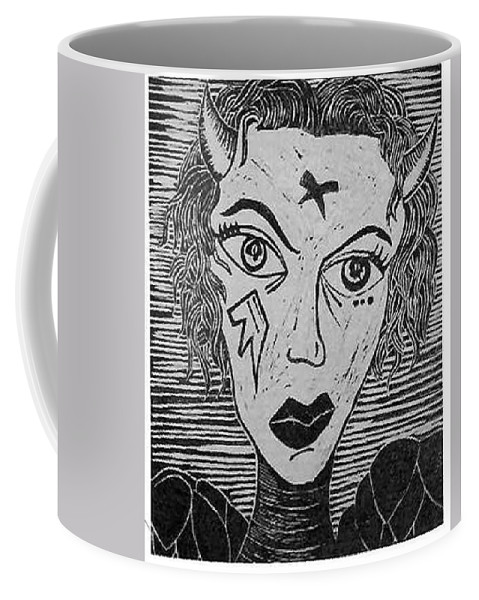 Prints Coffee Mug featuring the print Devil Print Two Out Of Five by Thomas Valentine