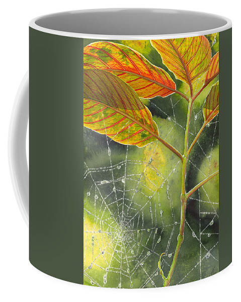 Web Coffee Mug featuring the painting Dew Drop by Catherine G McElroy