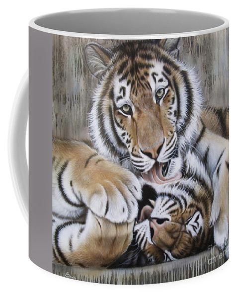 Acrylic Coffee Mug featuring the painting Diana's Duo by Sandi Baker