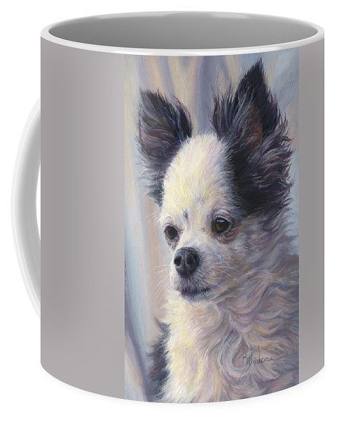 Dog Coffee Mug featuring the painting Dice by Lucie Bilodeau