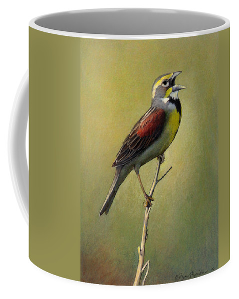 Birds Coffee Mug featuring the drawing Dickcissel Summer Song by Bruce Morrison