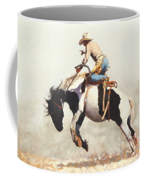 Rodeo Coffee Mug featuring the painting Did He Throw Ya Was His Name by Jim Bob Swafford
