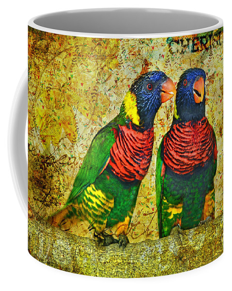Lorikeet Greeting Coffee Mug featuring the photograph Did I Tell You How Much I Love You by Olga Hamilton