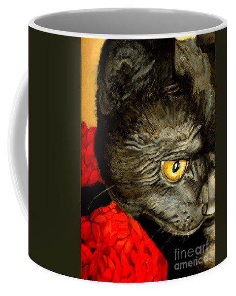 Animal Painting Coffee Mug featuring the painting Diego The Cat by Portraits By NC
