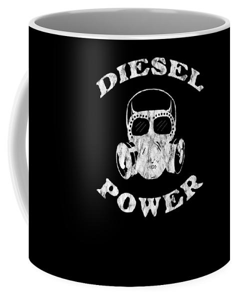Black-smoke Coffee Mug featuring the digital art Diesel Power Gas Mask Skull Truck Offroad White Distressed by Henry B