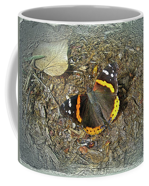 Butterfly Coffee Mug featuring the photograph Digital Red Admiral Butterfly - Vanessa Atalanta by Mother Nature